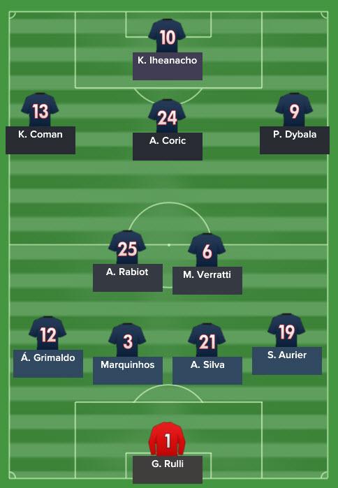 PSG's line up.