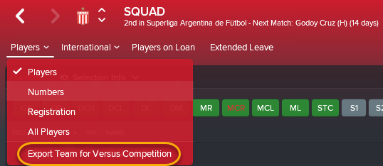 To play a Versus match with your FM18 career team, use this drop down menu option.