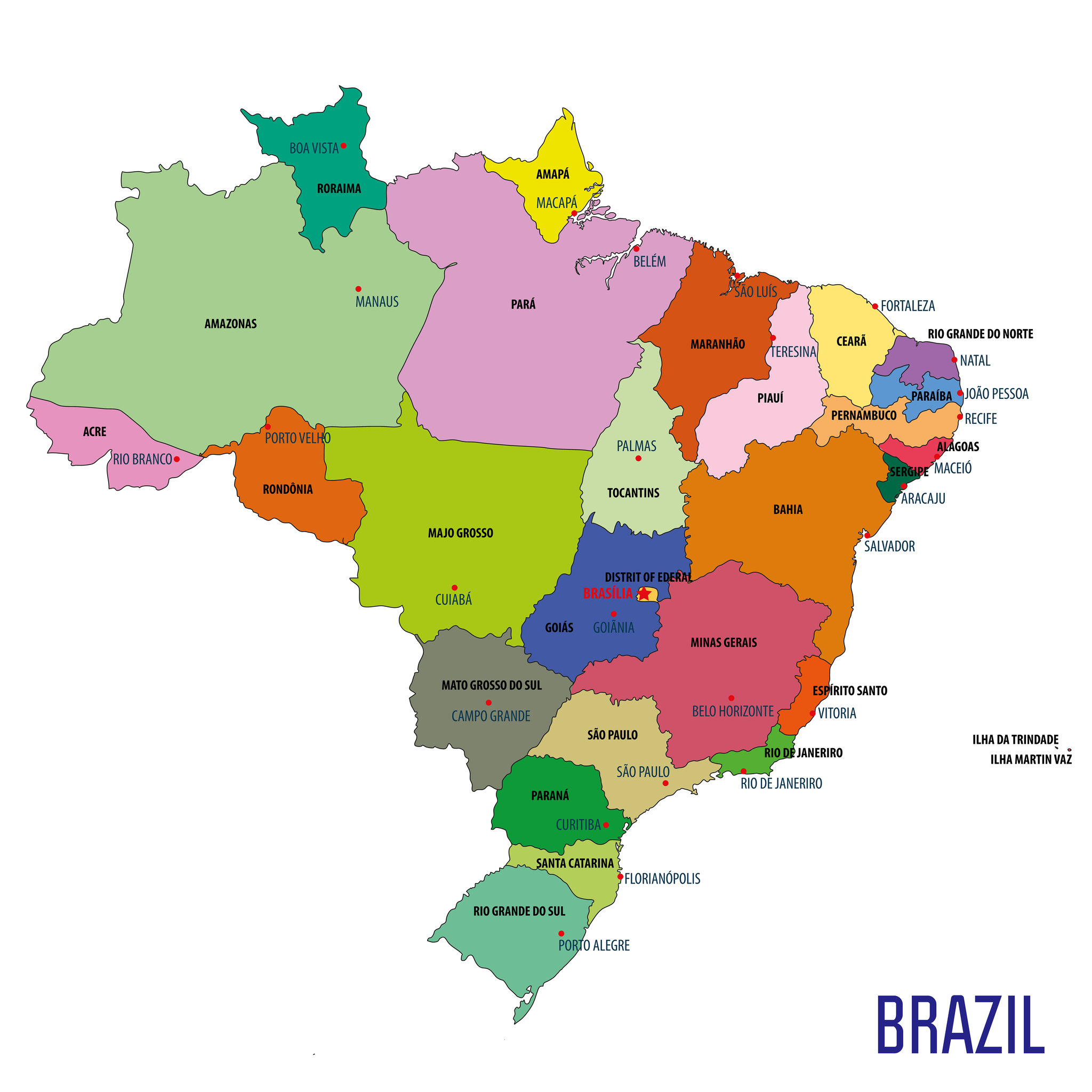 The 26 states of Brazil, that each play host to State Football.