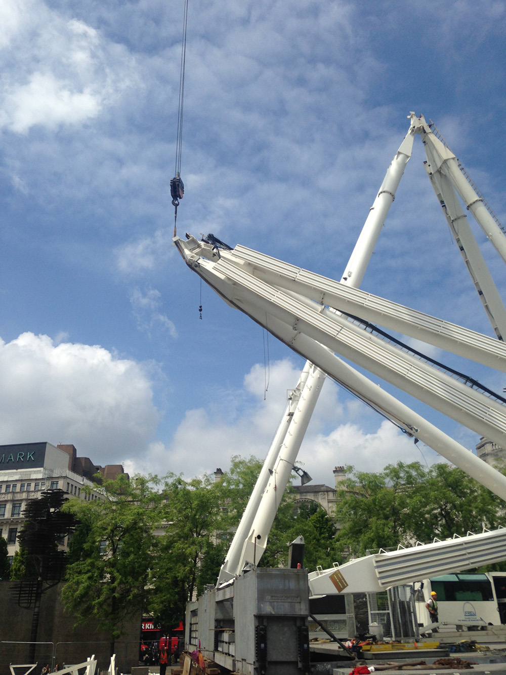 Manchester Big Wheel city centre installation. Road closures from 5.45am. Site clear 16.45pm.