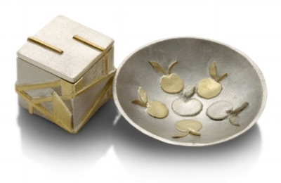Box and Dish- Sterling silver and 18ct Gold