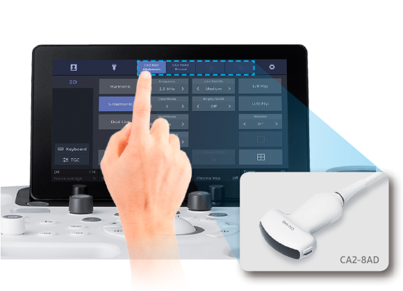QUICK PRESET   With one touch, the user can select the most common transducer and preset combinations. Quick Preset maximizes efficiency to make a full day of scanning simple and easy.