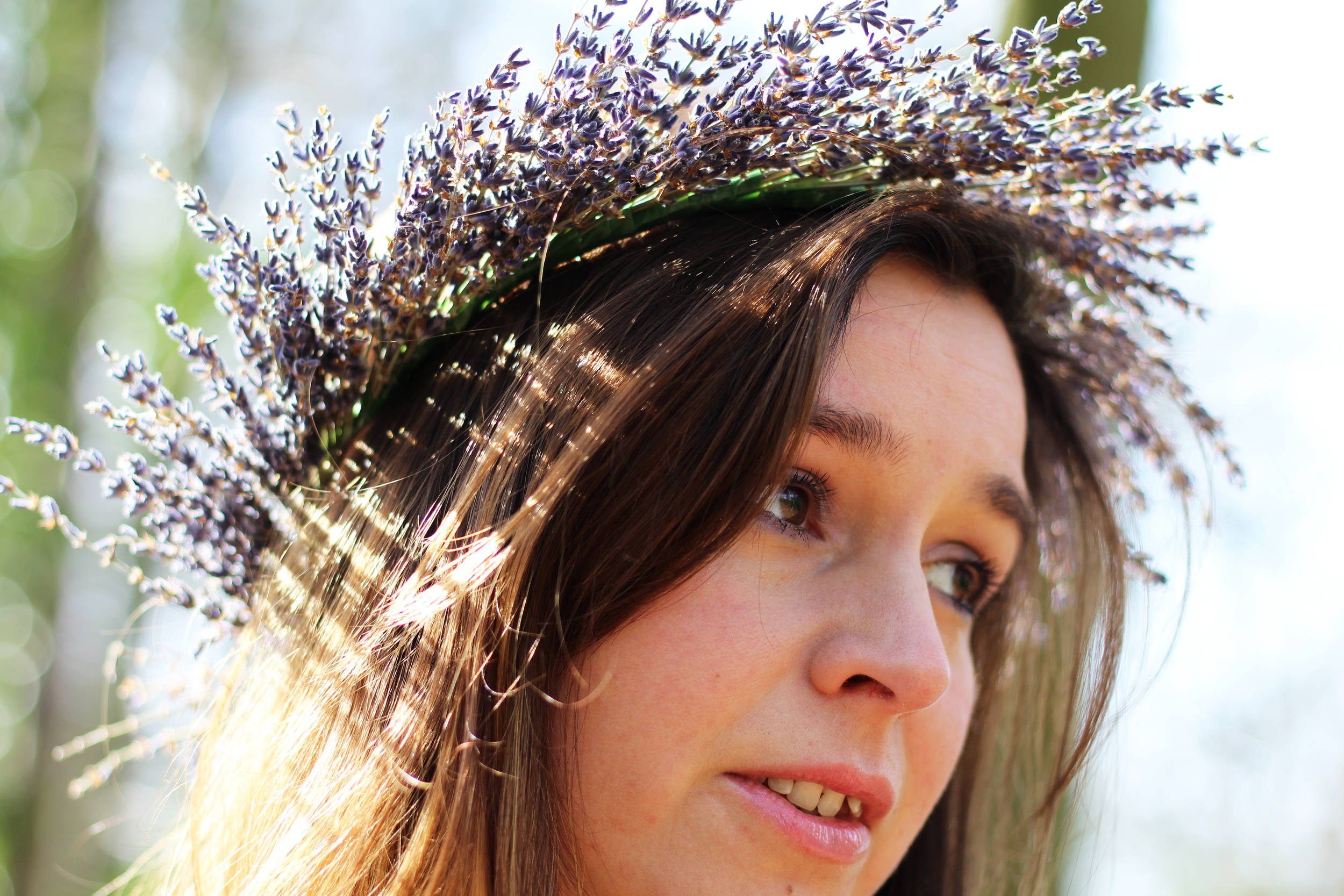 Me wearing my Lavender Floral Crown in the spring sunshine!  Photography by  Jennifer Ann Photography
