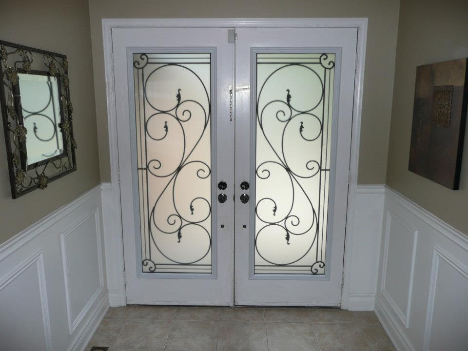 Flamingo-Bay-Wrought-Iron-Glass-Door-Inserts-Uxbridge-Ontario