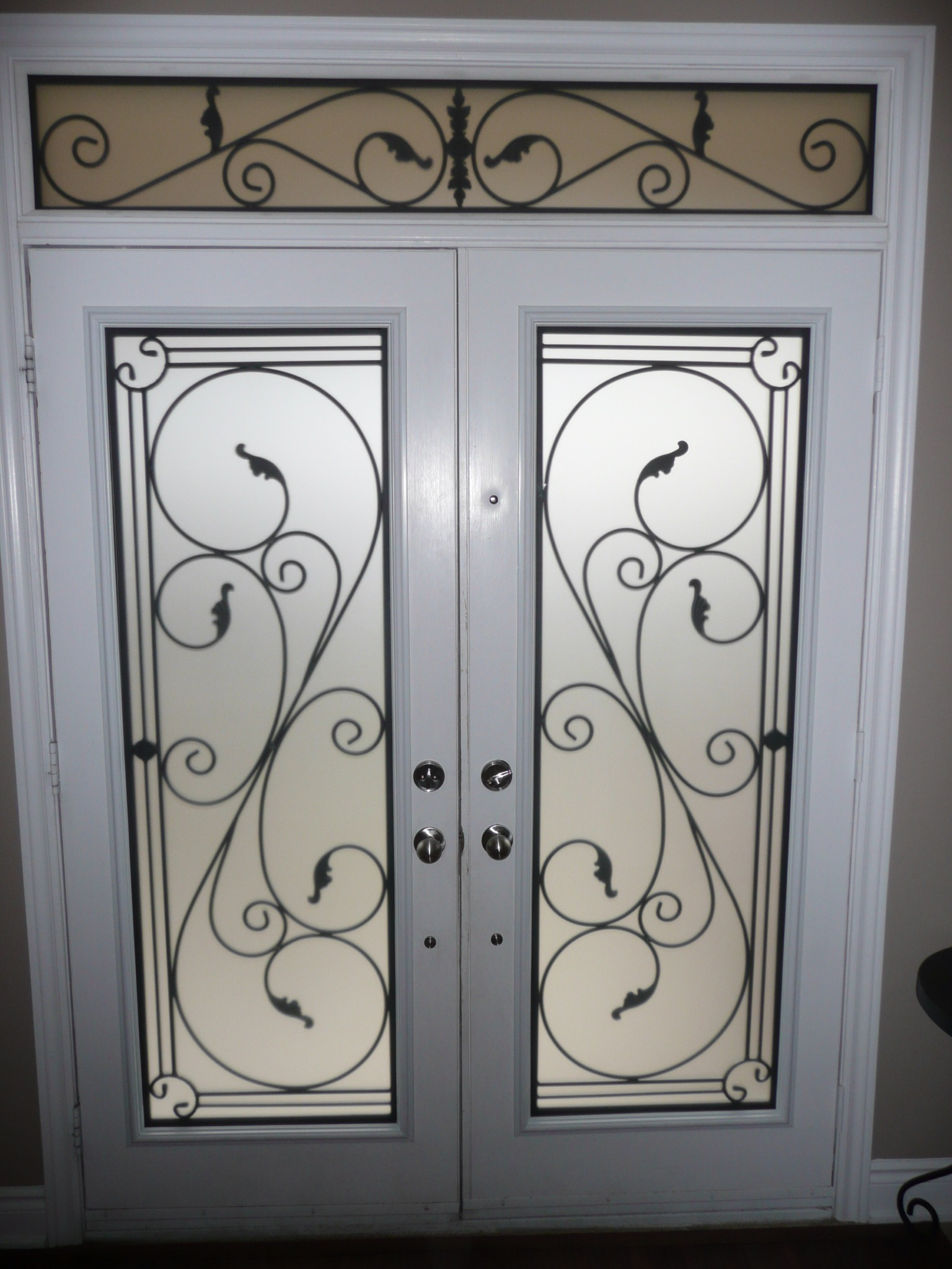 Flamingo-Bay-Wrought-Iron-Glass-Door-Inserts-Barrie-Ontario