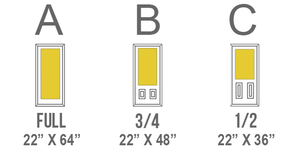 Decorative Glass Door Inserts Available sizes are indicated by A, B and C next to the name