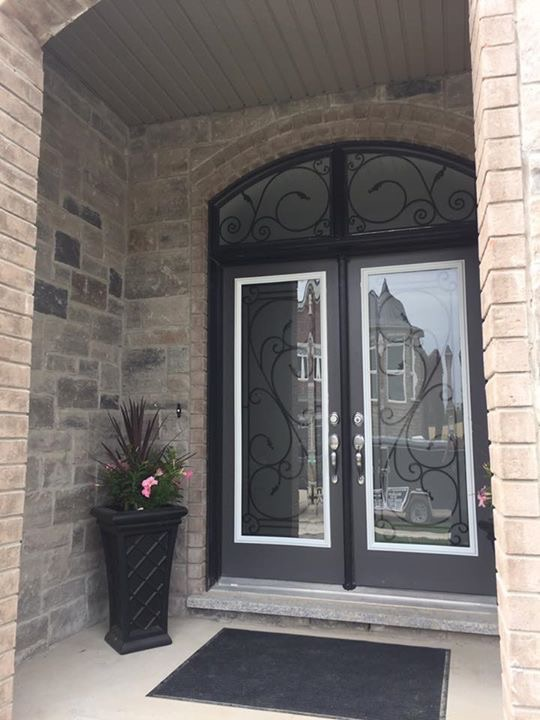 Flamingo-Bay-Wrought-Iron-Glass-Door-Inserts-Stouffville-Ontario