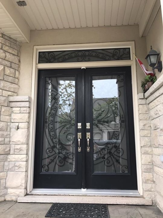 Chesterfield-wrought-Iron-Glass-Door-Inserts-Bowmanville-Ontario