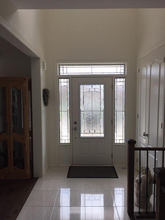 Ashbourne Decorative glass door insert with matching Sidelites.