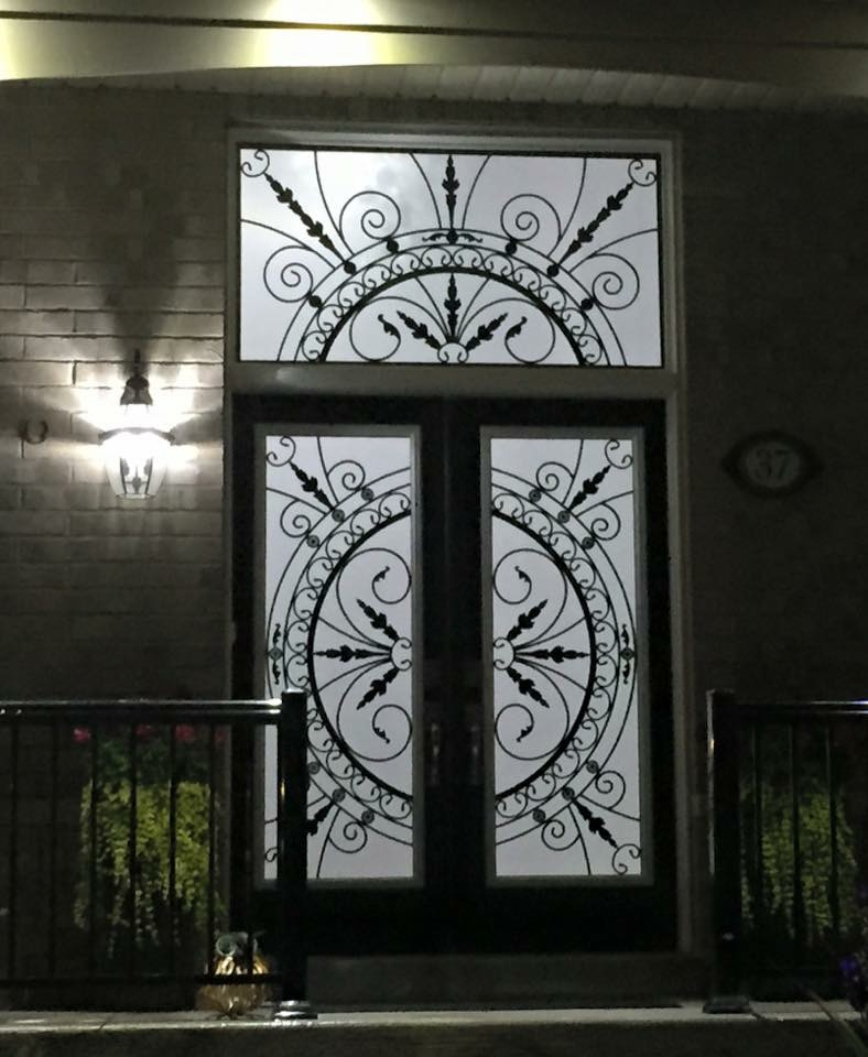 Chesterfiled Wrought Iron Glass Door Inserts
