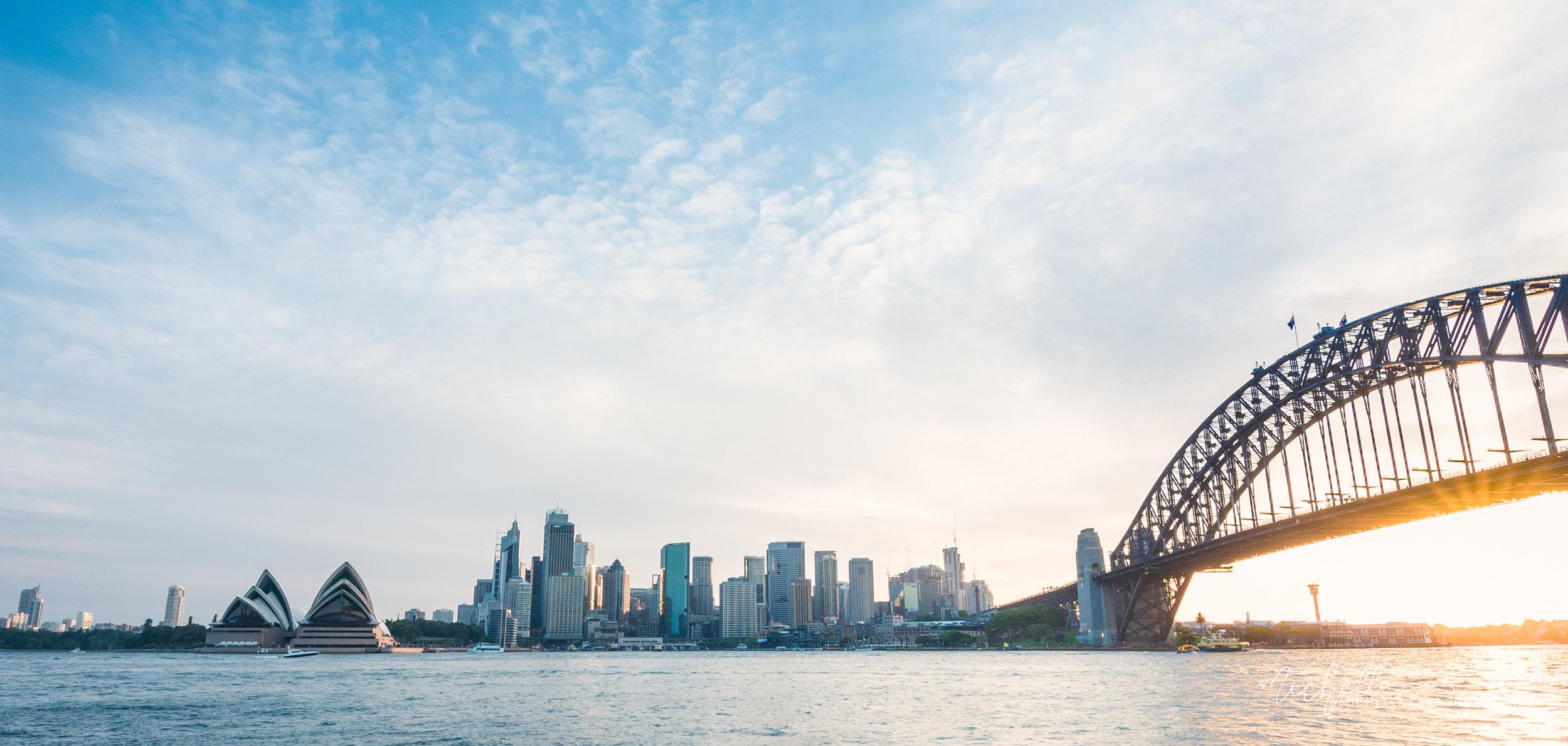 Sydney harbour skyline at sunset, NSW