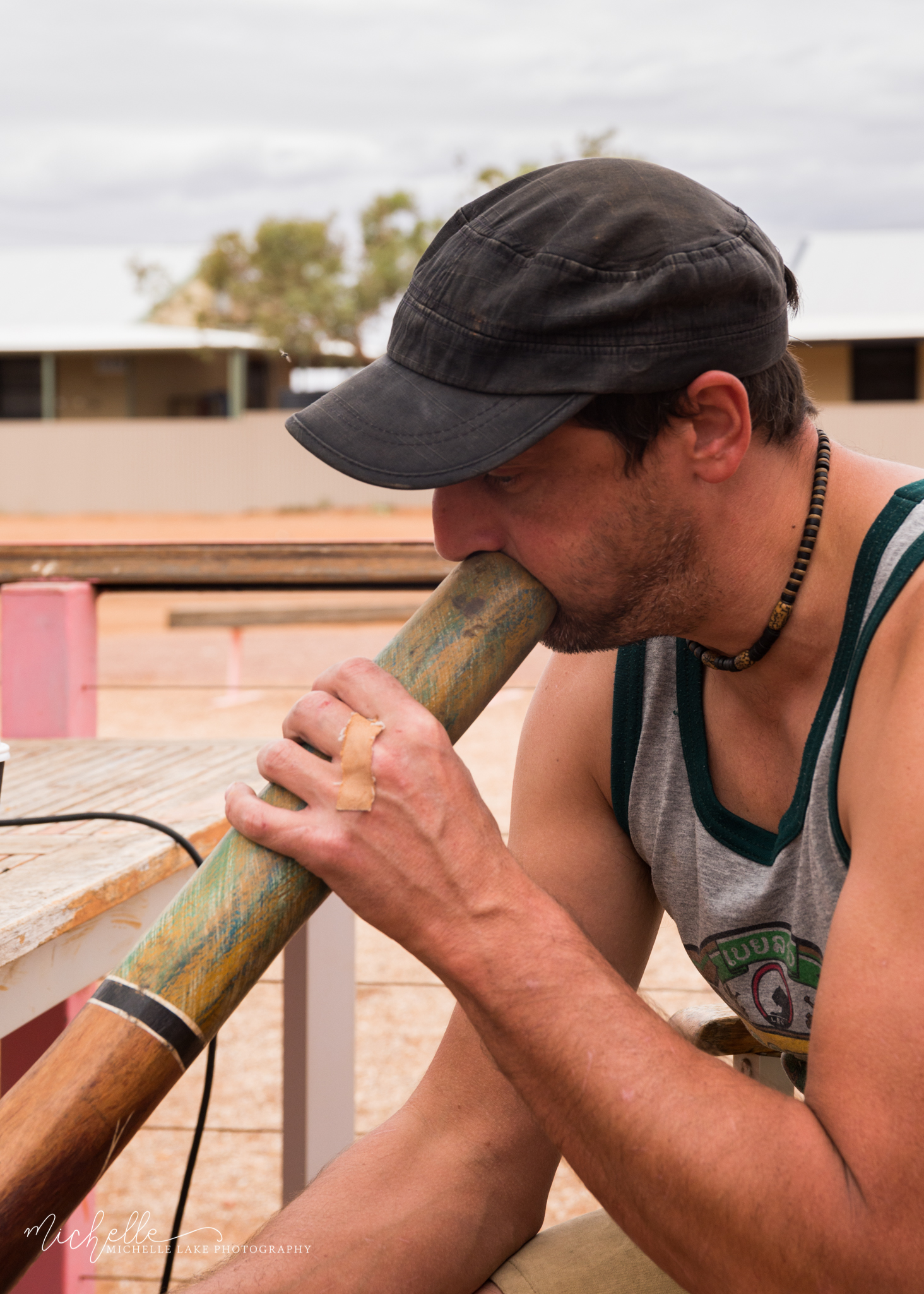 Geoff playing the yidaki/didgeridoo