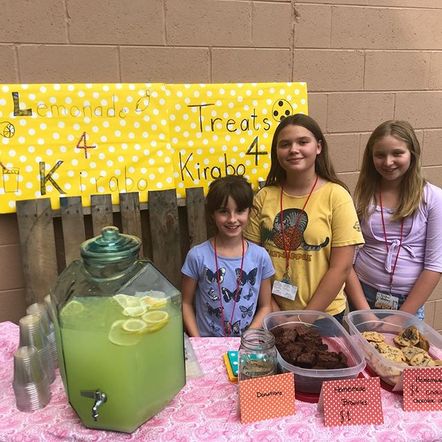 "these awesome girls are raising money to beat the boys out in the vacation bible school ""change for kirabo"" competition!! thank you, ladies - you're changing lives!!"