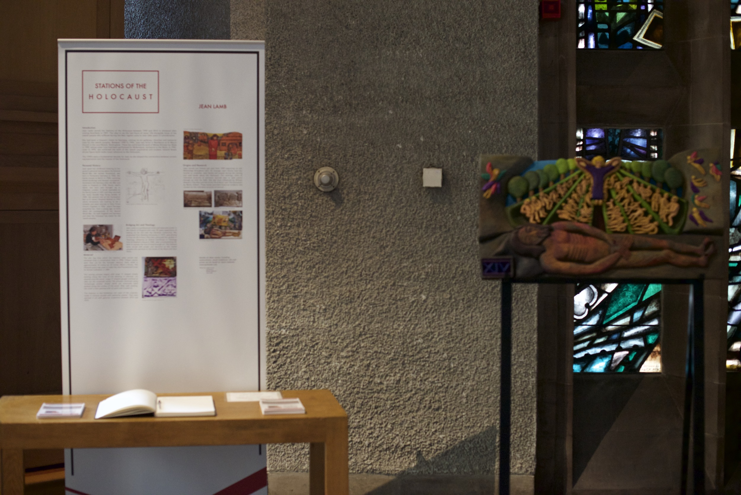 Stations of the Holocaust in Coventry Cathedral - Station XIV with table
