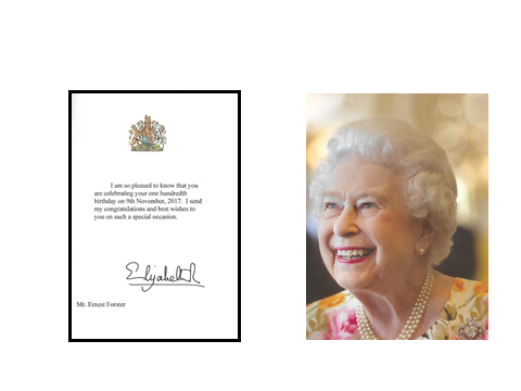 The photograpgh above shows the congratulations letter Ted Forster received from HM the Queen.
