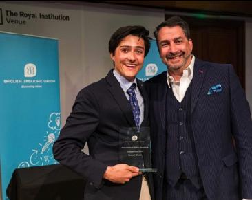 ESU 2019 winner, Ennio Campoli Patak from Spain and John Briggs, chair of judges.