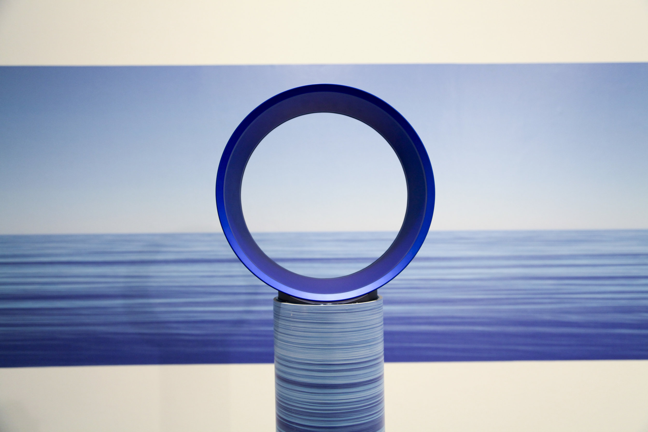 Earth, Water, Air  (foreground) and Horizon  (background), 2013, tabloid magazines (artist's personal collection), PVC pip, printed adhesive vinyl, Dyson Air Multiplier,installation view, MOP Projects, Sydney. Photography: Michael Randall. Copyright JD Reforma