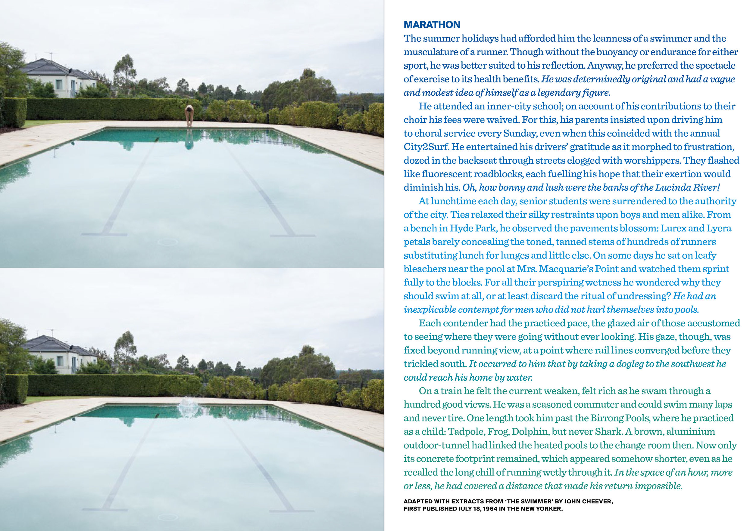 Marathon , 2013. Text with photographs. Original photography: Hugh Marchant. Copyright JD Reforma