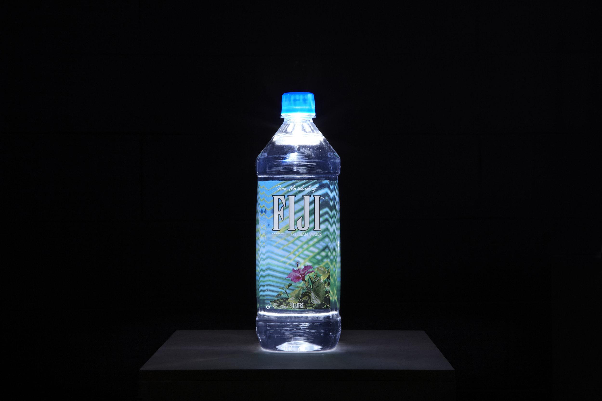 The  Source , 2013, 1L spring water bottles, LED lights, custom MDF plinths, installation view, The Source, Mosman Art Gallery, Sydney. Photography: Zan Wimberley. Copyright JD Reforma