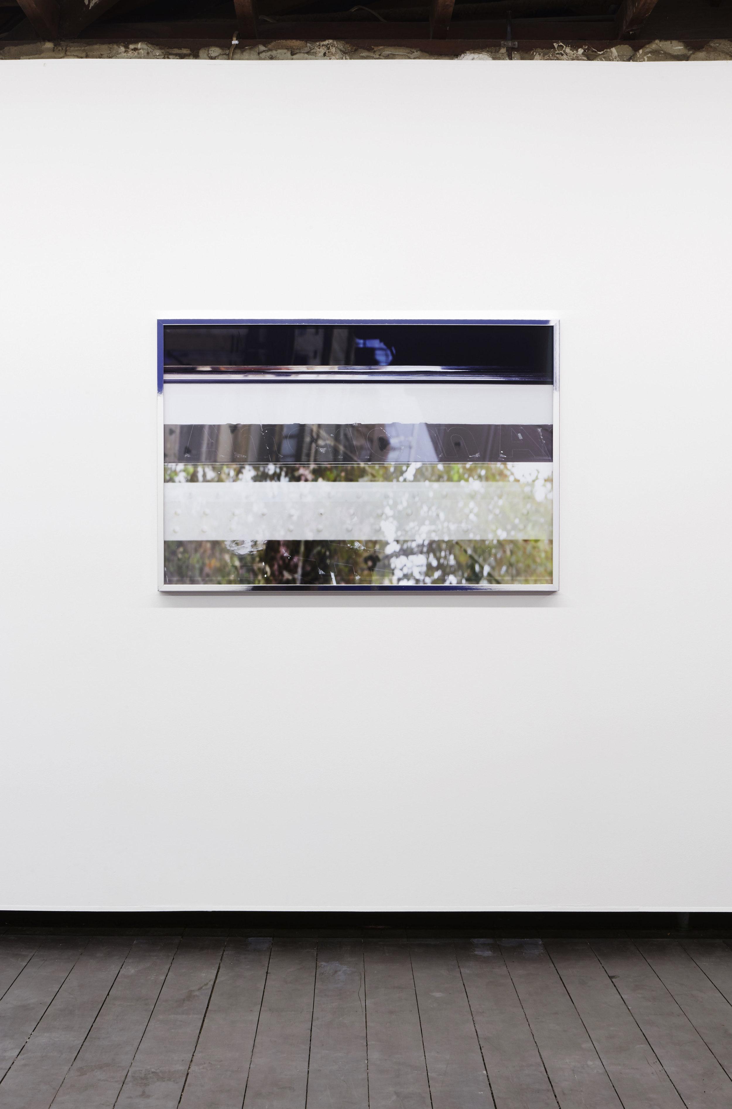 American Apparition , 2017, digital C-type print on metallic gloss, framed, 123 x 83 cm, installation view,  Coconut Republic , Firstdraft, Sydney. Photography: Jessica Maurer. Photo: Zan Wimberley. Copyright JD Reforma