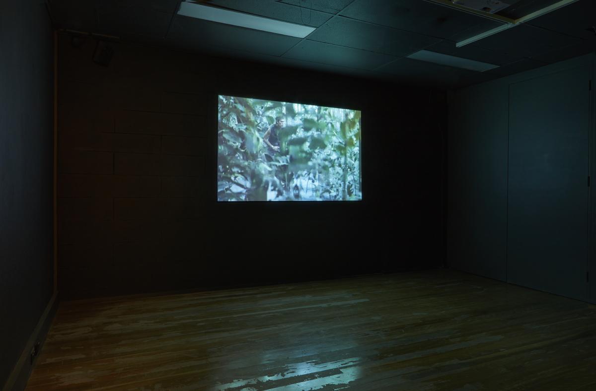 Coconut Republic , 2017, single-channel video wit sound, 8 minutes 32 seconds, installation view, Halò , Mosman Art Gallery, Sydney. Editor: Kate Blackmore. Photo: Zan Wimberley. Copyright JD Reforma