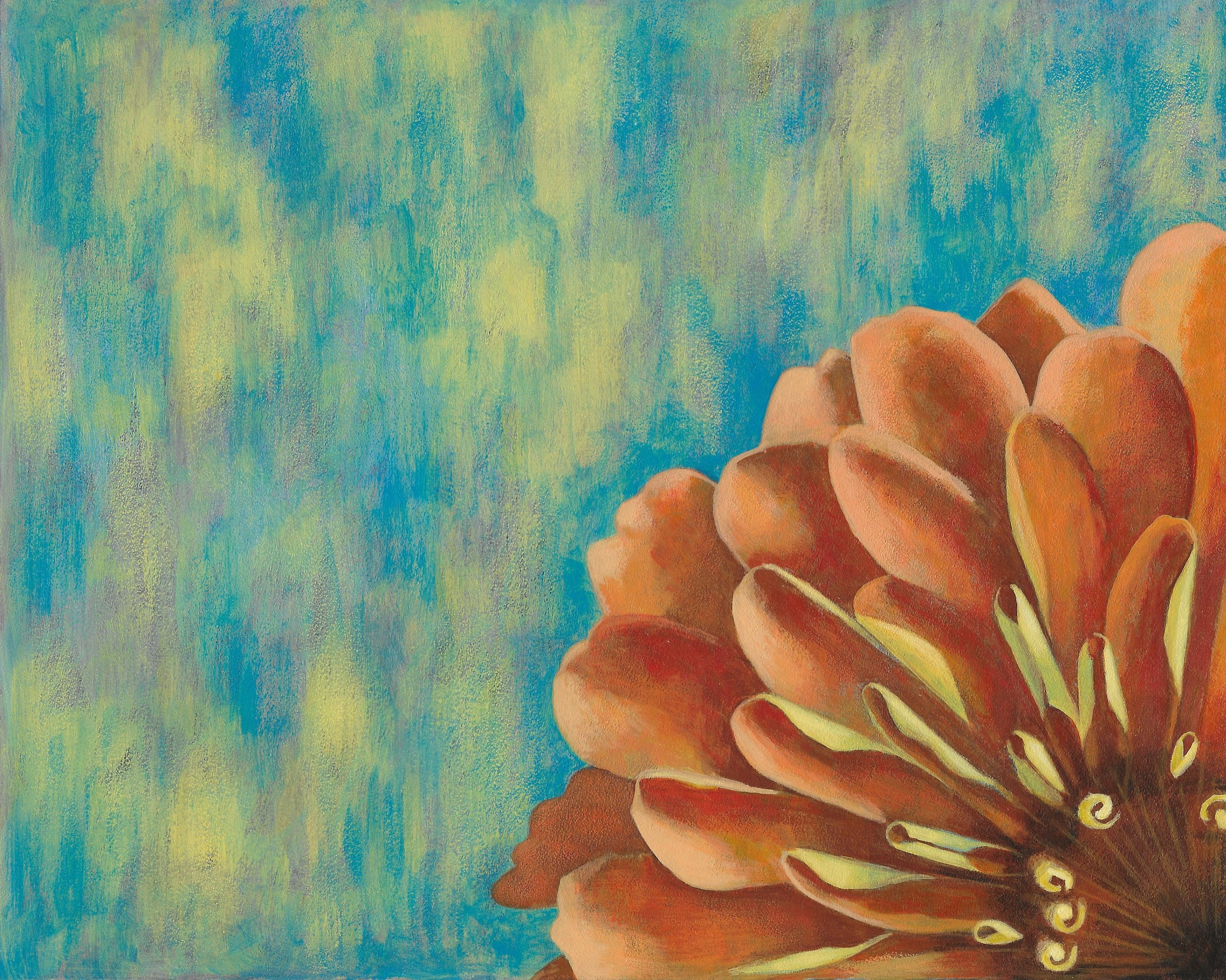 Zinnia  Acrylic on Panel  8 by 10 inches