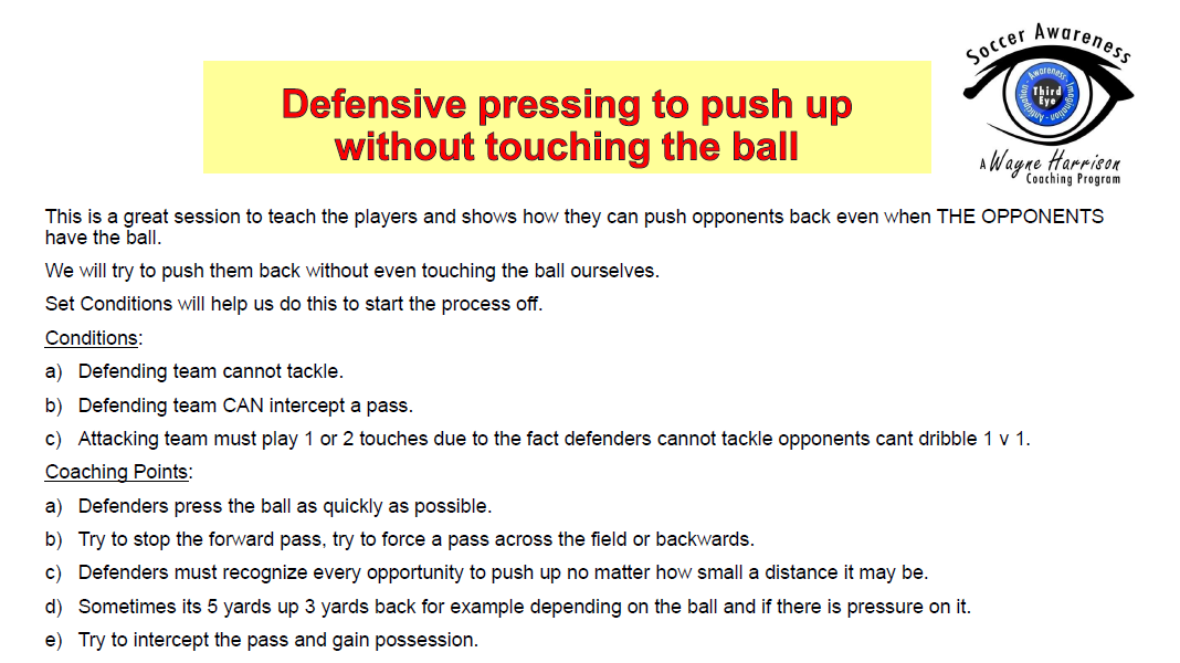 Defensive Pressing to Push Up Without Touching the Ball