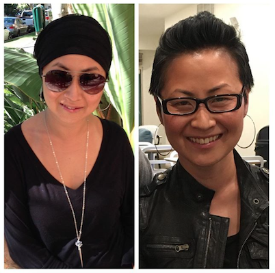 Left: My first picture on the day after shaving my head; Right: My first post-chemo haircut (which I LOVED!)