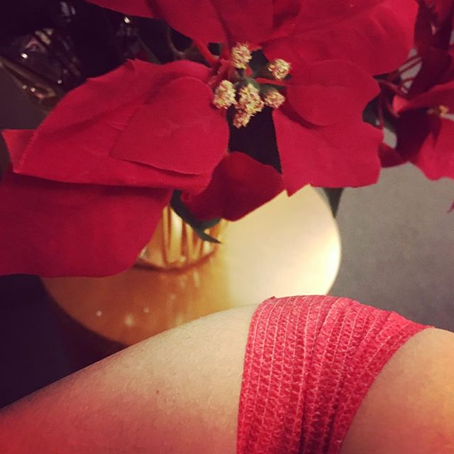 My bandage from my recent oncologist visit —red for the holidays —which I considered a good sign!🎄