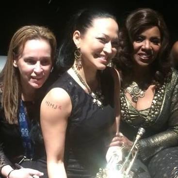 "Kiku with Gloria Gaynor (right), who she calls ""family,""and Stephanie, Gloria's right-hand woman, at the Grammys 2015.Photo: Kiku Collins"