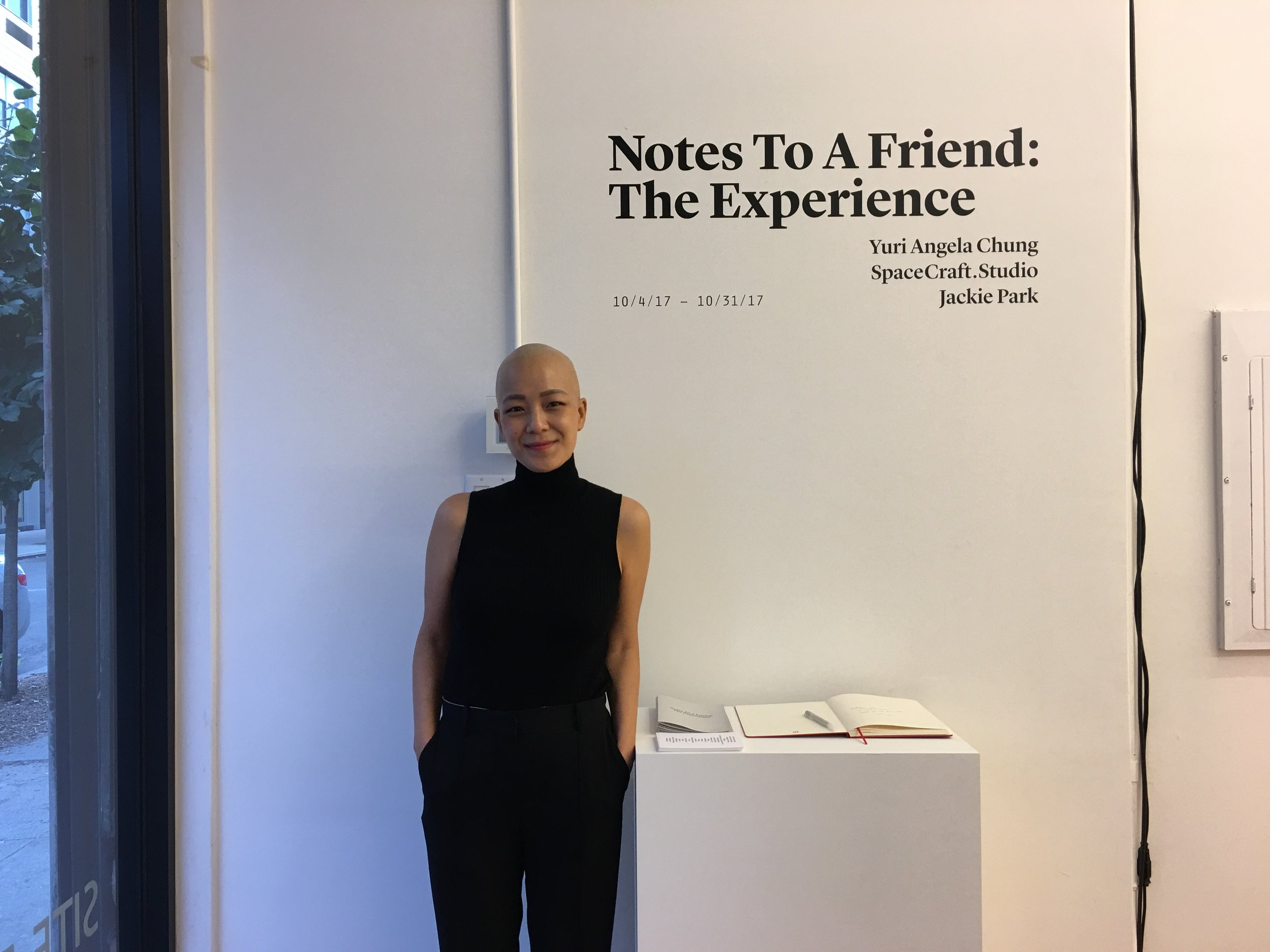 Taken while Yuri was still in breast cancer treatment, she was able to travel to New York for the opening of her  Notes to a Friend  art show. Photo: Jackie Park