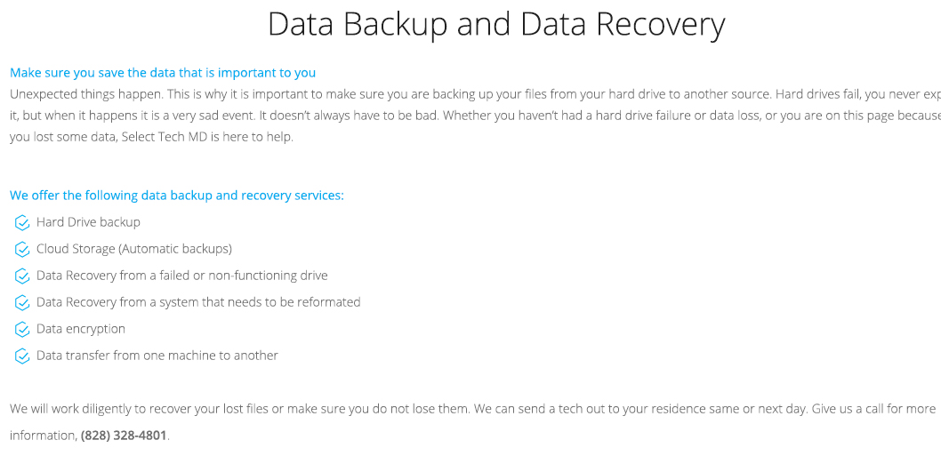 Data Backup and Recovery Solutions - Hard drive backup, cloud storage, automatic backups, data recovery from a failed or non-functional hard drive, data encryption, data transfer in Hickory Charlotte Raleigh Durham Winston-Salem Greensboro Asheville NC North Carolina