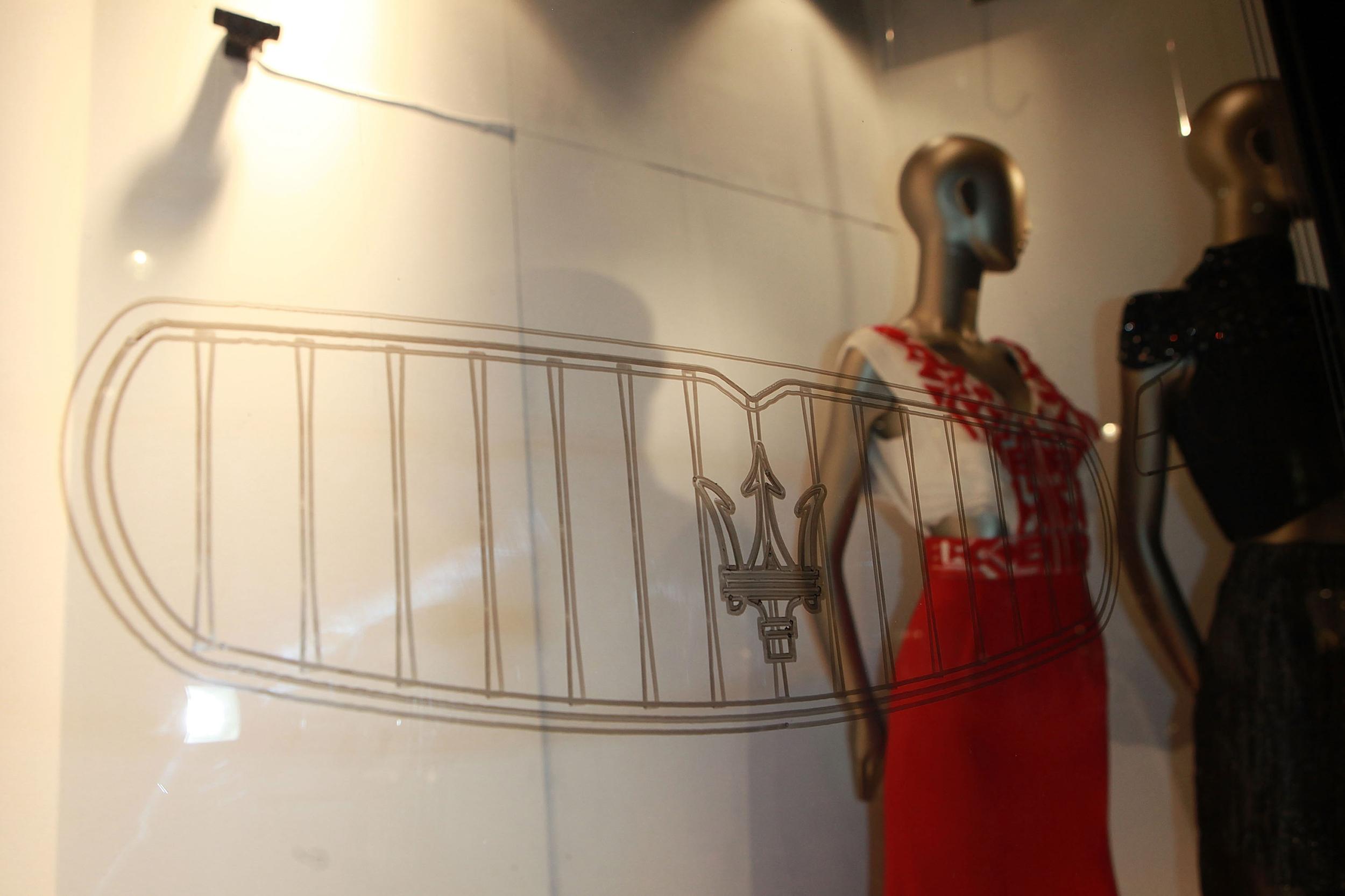 Maserati window display in Liberty London