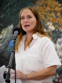 Mardie giving her graduation testimony
