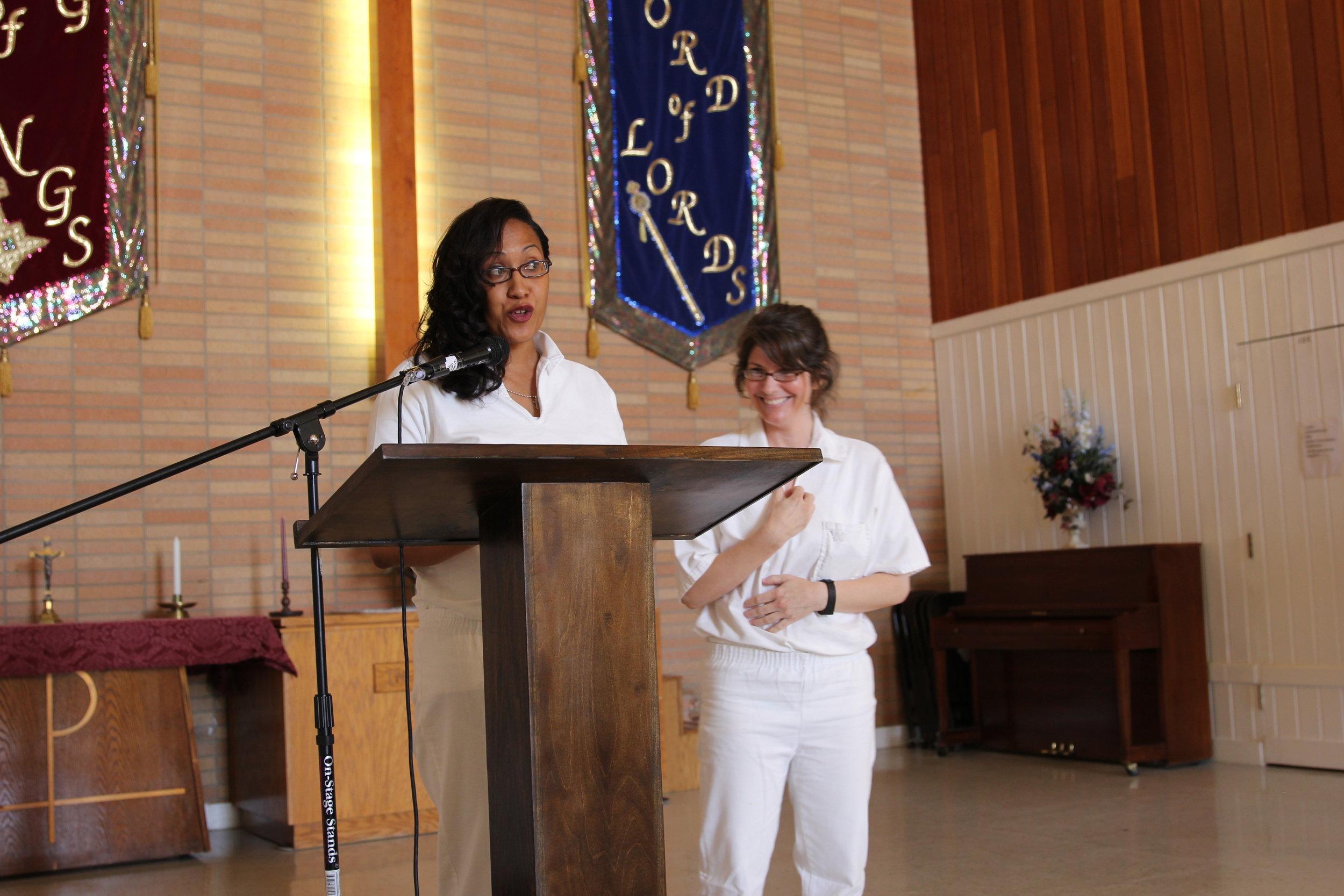 Arlene and Kim gave the graduation address