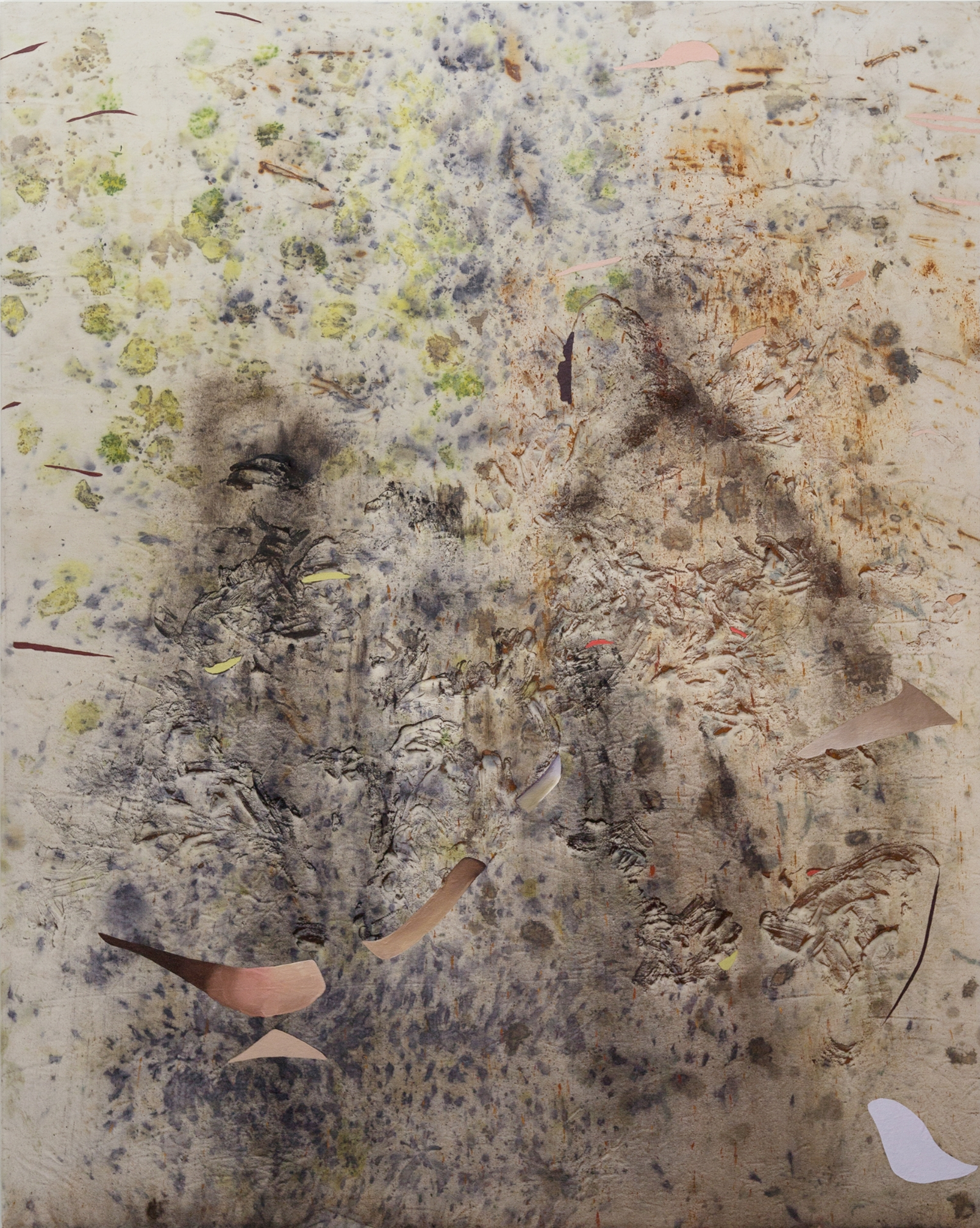 Rose Fossils, Cold Wax Medium, Oil, Raw Pigments, Sand, Red Earth, and Various Plant Materials (including Acorns, Avocado Pits, Ferns, Sumac Berries, Rose Petals, Onion Skins, Tansy Flower, Wildflowers, and Rusty Nails) on Canvas, 5x4 feet, 2018