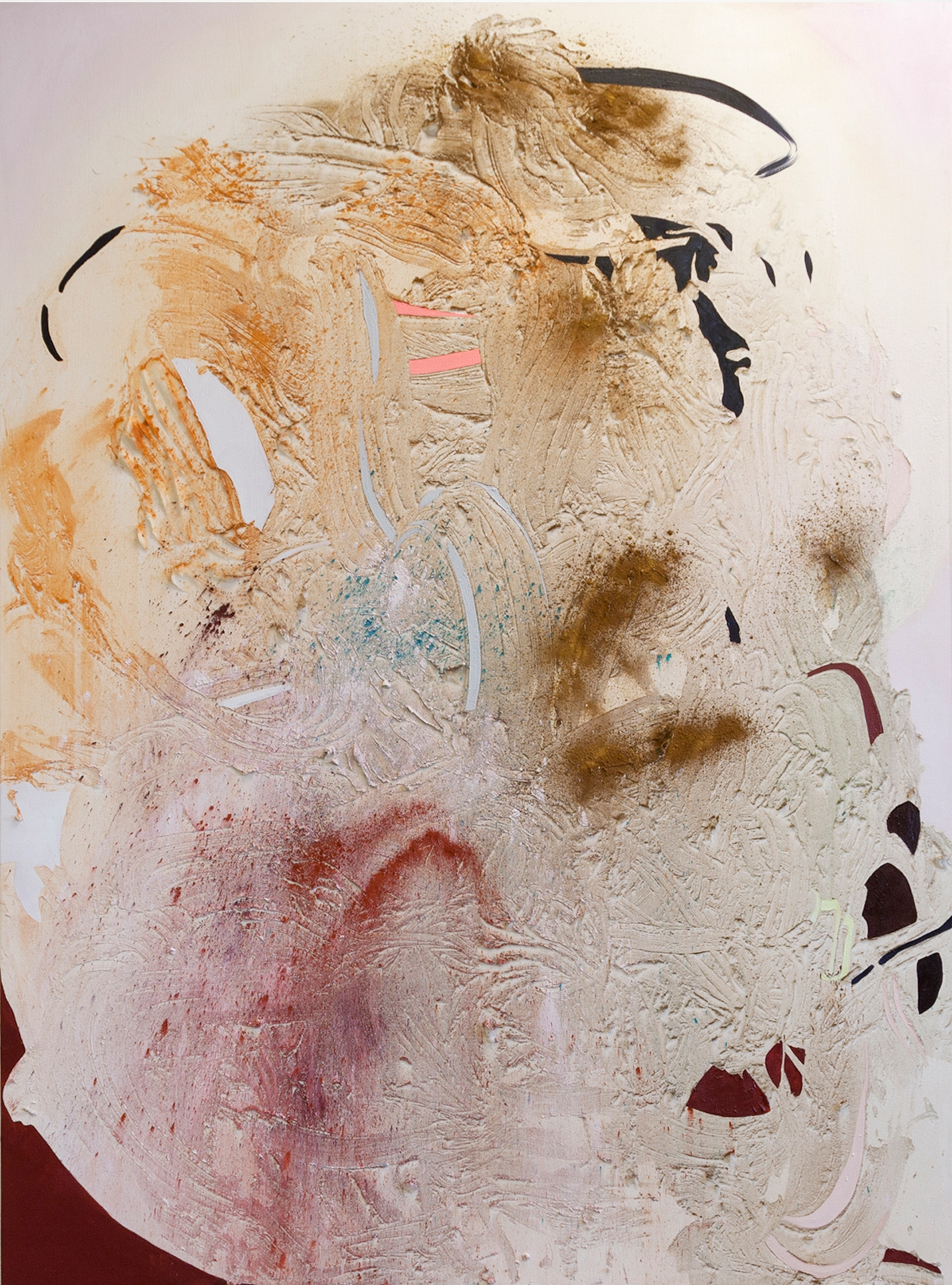 Pink Lake Mica 2, Cold Wax Medium, Raw Pigments, and Oil on Canvas, 7x5 feet, 2016