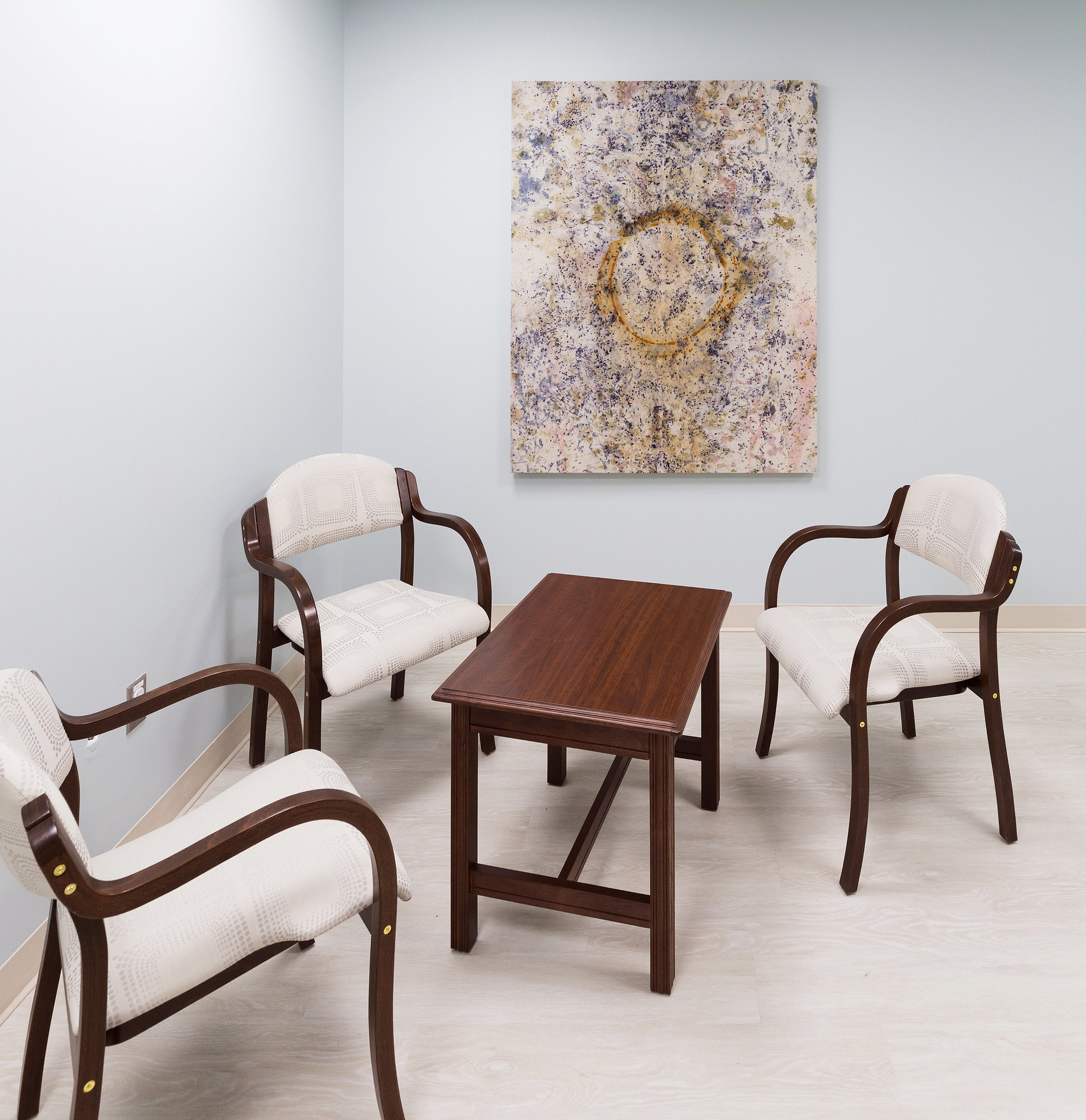 Installation View: Spiritual Care Centre,  Perley and Rideau Veterans' Health Centre,  Ottawa, On  Untitled, Various Plant Materials (including Indigo, Madder Root, Onion Skins, Roses, Sumac, and Wildflowers) and Rust Sediments on Canvas,  5 x 4 ft, 2019  This artwork was made by residents of the Perley and Rideau Veterans' Health Centre under the guidance of Creative Arts Instructor Gillian King and Spiritual Health Practitioner Jessie Stephenson, in collaboration with Therapeutic Recreation Creative Arts - Horticultural Services and Support Services.