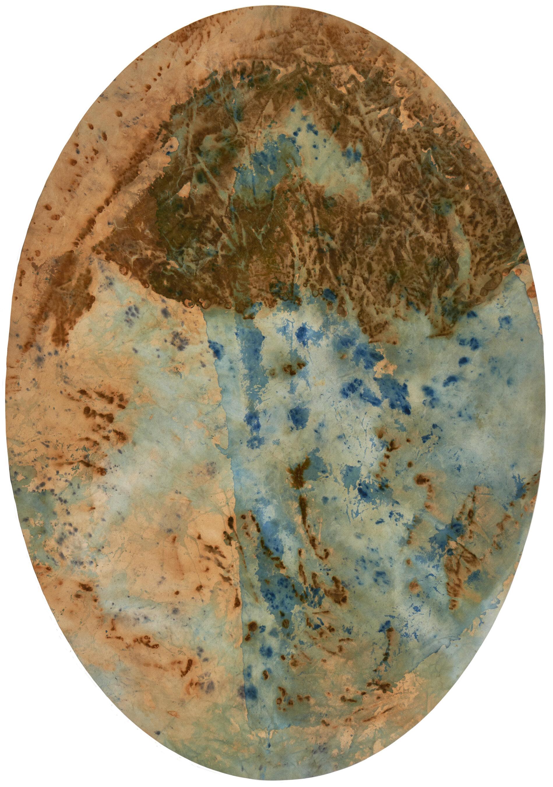 Vessel, Cyanotype and Rust on Canvas, 5 x 3 feet, 2019