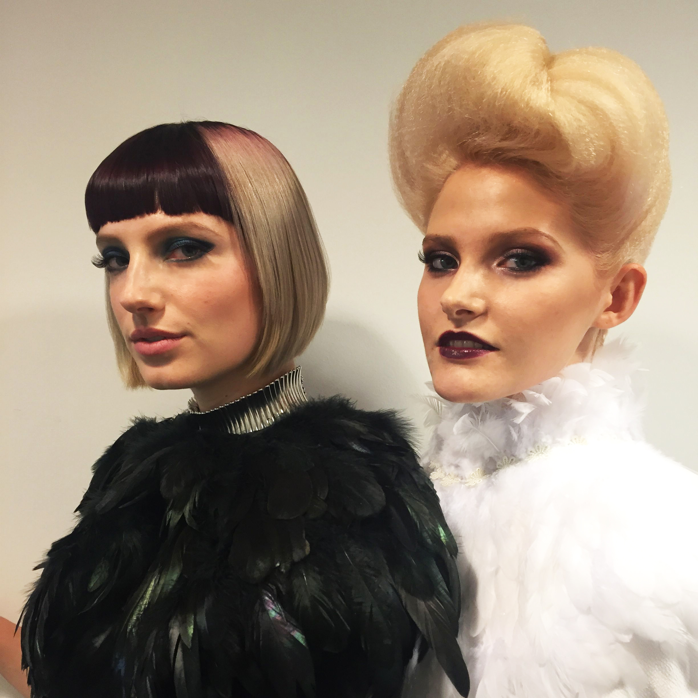 The two models and their final hair and makeup looks.