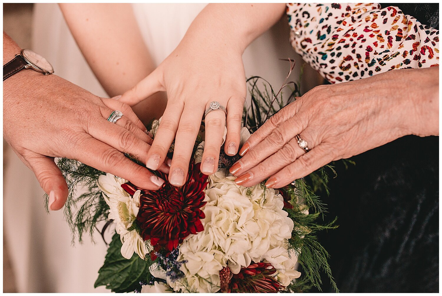 These are the wedding rings of the bride, her mom and her grandma. Such a sweet keepsake this photo will be!