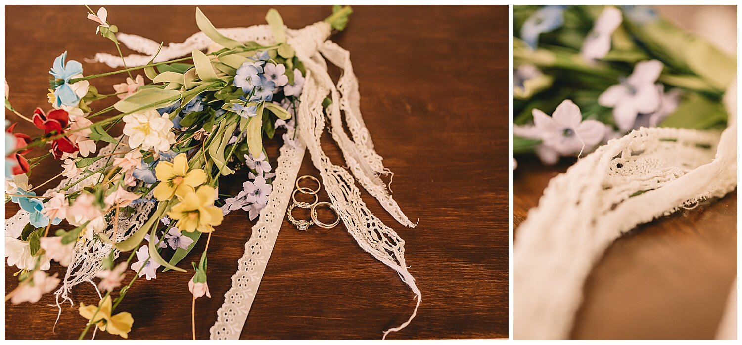 Some of the 100 year old lace from great grandma's wedding dress in the bouquets designed by their daughter Adelyn. More was used in the bride's dress, which was made by her mom!