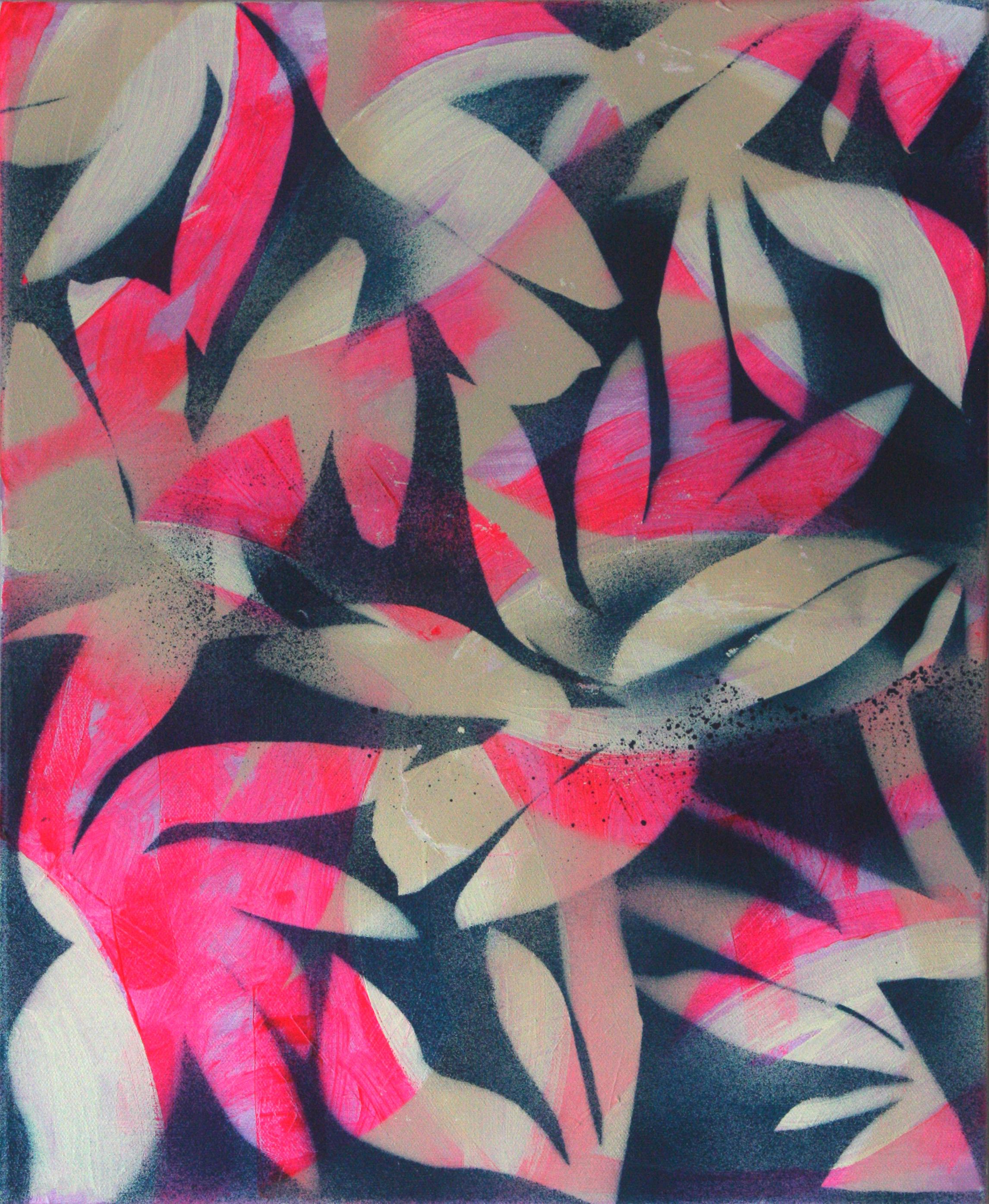 Feeling pink, 40 x 51cm, acrylic oil and spray paint on canvas, 2019