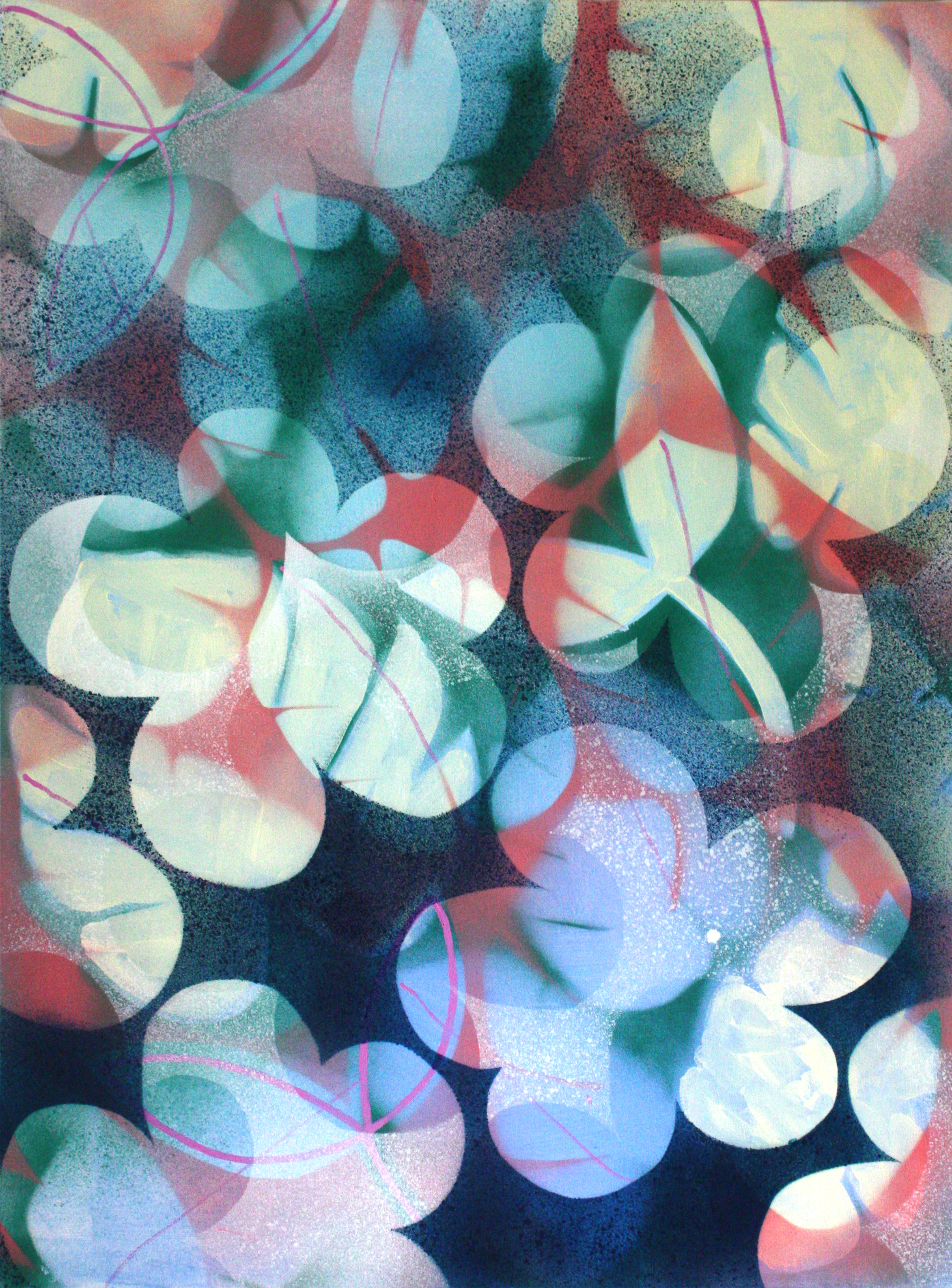 Flowers 2, 70 x 100cm, acrylic and pigment on canvas, 2019