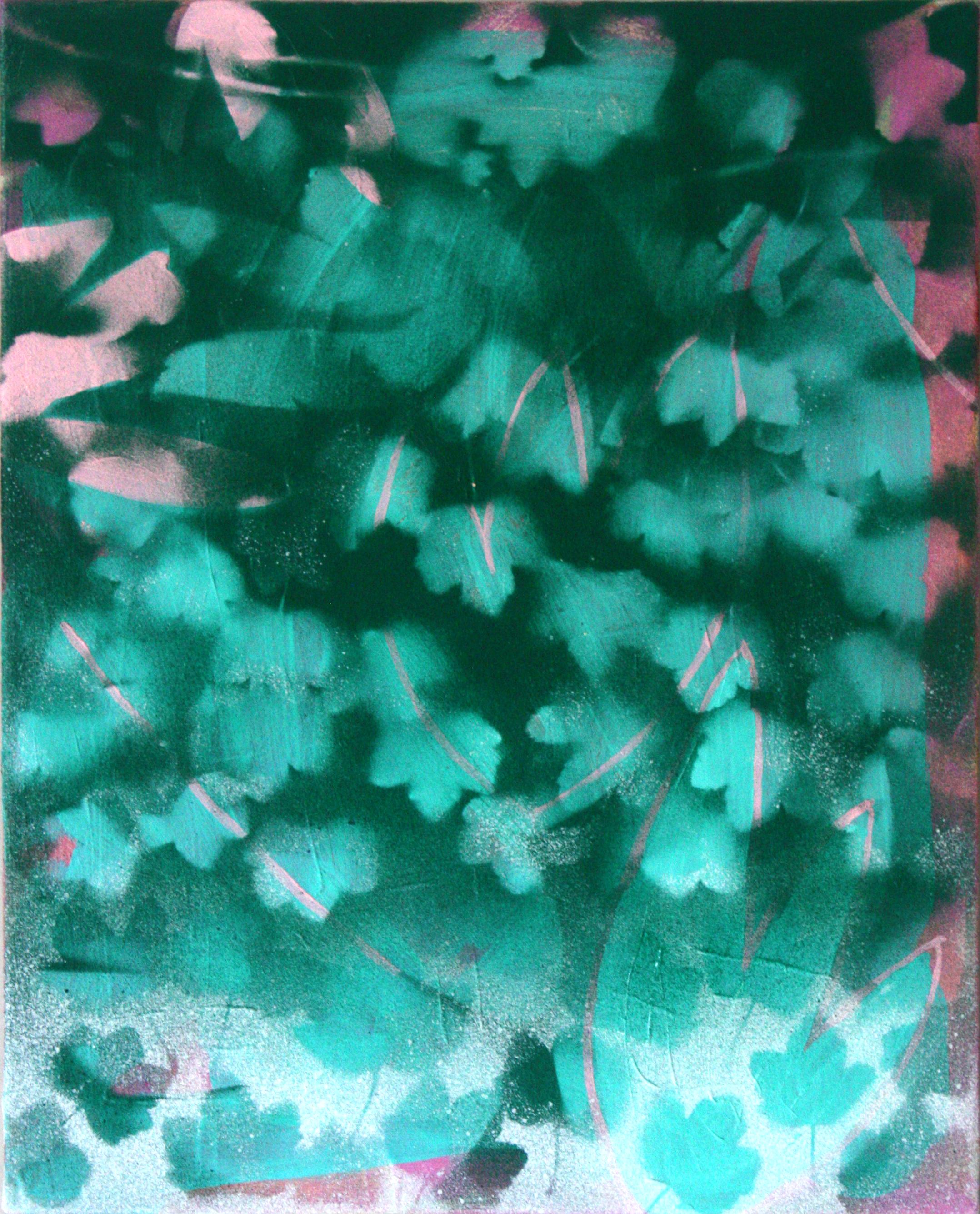 Lost in shadows, 40 x 51cm, acrylic pigment spray on canvas, 2019