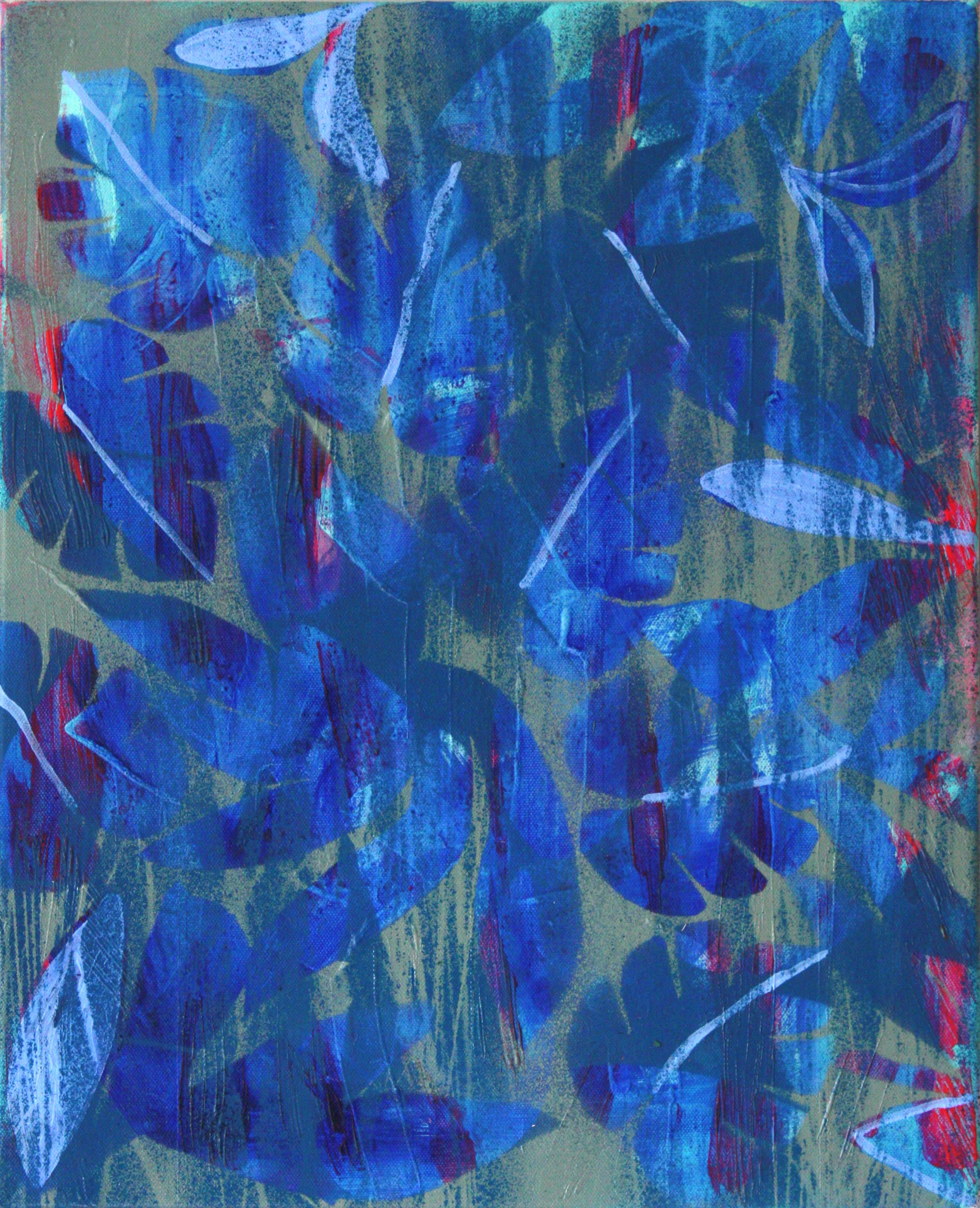 Fforest, 40 x 51cm, oil, acrylic and spray on canvas, 2019