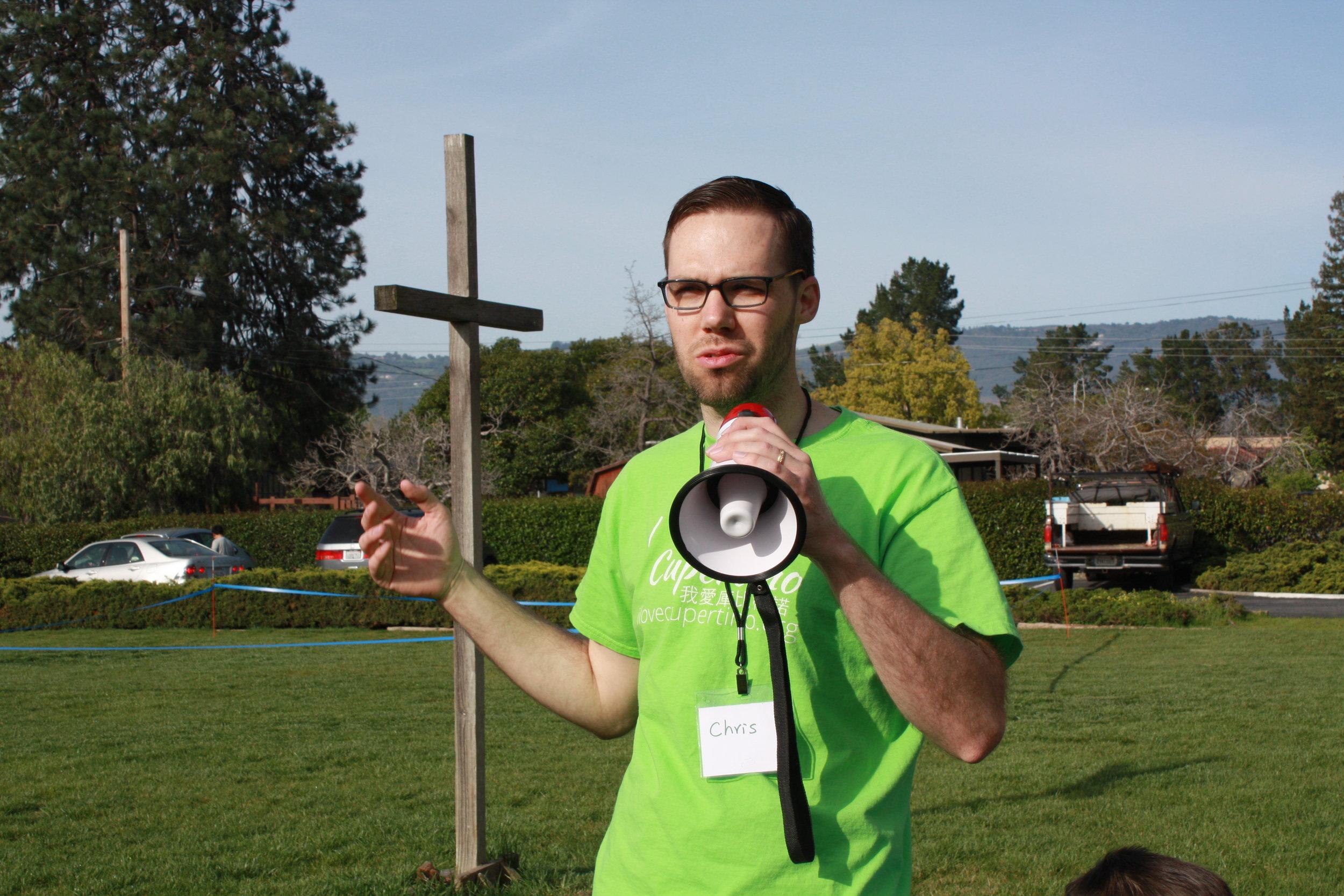 Pastor Chris welcoming guests