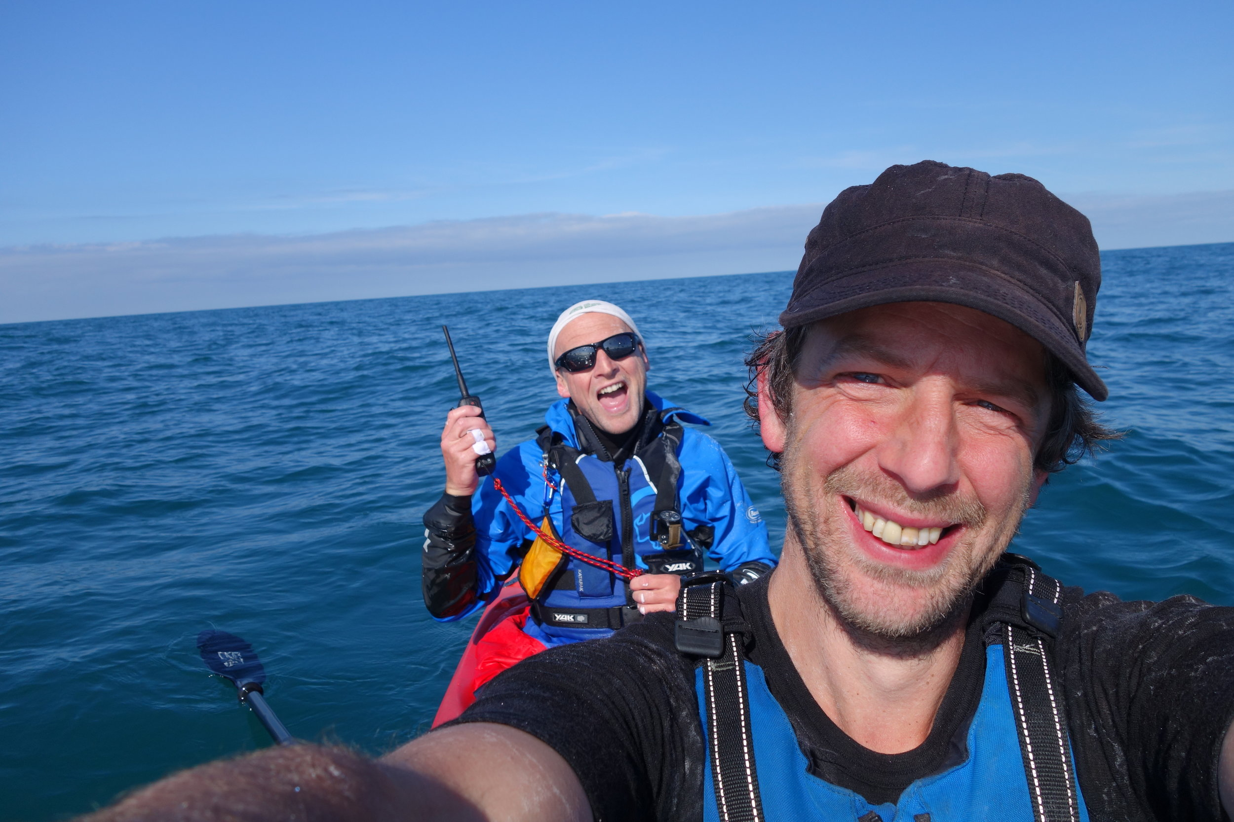 8 hours into the Irish sea crossing with Mike Alexander. Wales somewhere in the background!