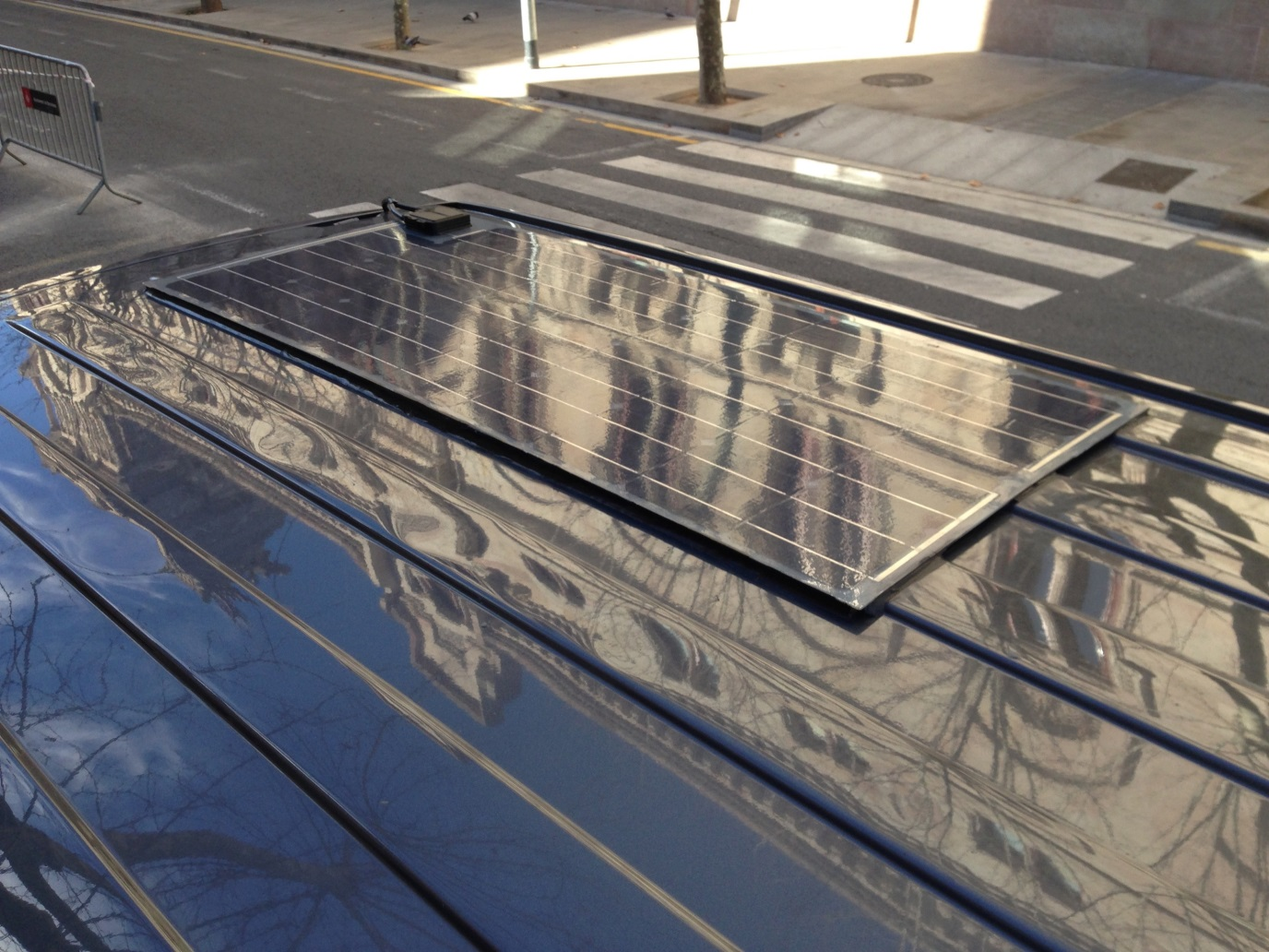 Solar panels on the van roof!