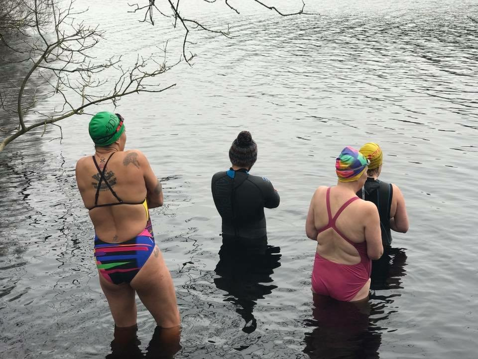 My first open water dip with the awesome Googley Bears.  Arms crossed, bobble hat on in defiance.  I spent 7 minutes standing in the water before I got out saying 'This is stupid!'
